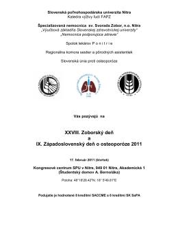 XXVIII. Zoborský deň a IX. Západoslovenský deň o osteoporóze 2011