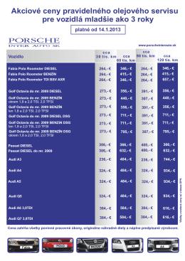Akciové ceny pravidelného olejového servisu pre vozidlá mladšie