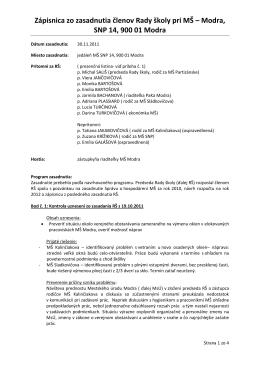 Zápisnica zo zasadnutia členov Rady školy pri MŠ – Modra, SNP 14