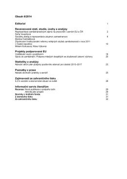Obsah 6/2014 Editorial Recenzované stati, studie, úvahy a analýzy