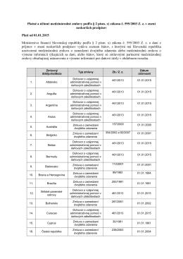 Platné a účinné medzinárodné zmluvy podľa § 2 písm. x) zákona č