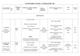 SLOVENSKÝ JAZYK A LITERATÚRA III.