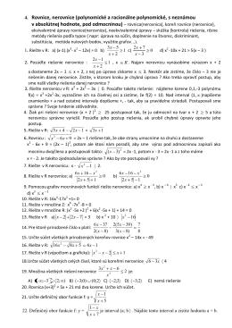 4. Rovnice, nerovnice (polynomické a racionálne polynomické, s