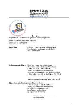 Charakteristika podniku - Základná škola v Bátorových Kosihách