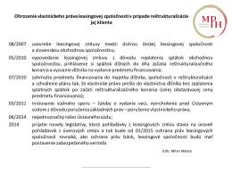 Ohrozenie vlastníckeho práva leasingovej spoločnosti v prípade