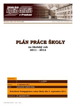 plán práce školy - Základná škola s materskou školou Hugolína
