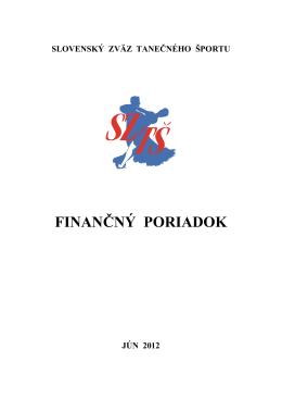 Finančný poriadok SZT− 2012 - Slovenský Zväz Tanečného Športu
