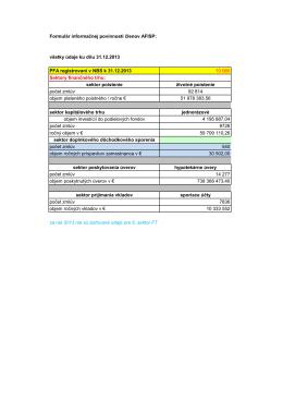 Formulár informačnej povinnosti členov AFISP: všetky údaje ku dňu