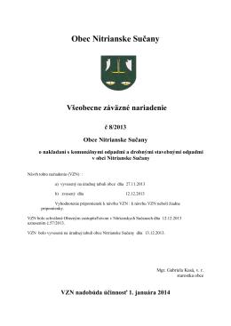 Všeobecne záväzné nariadenie č 8/2013 Obce Nitrianske Sučany o