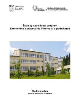 Školský vzdelávací program Ekonomika, spracovanie informácií a
