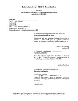 Hodnotiaca správa 2011-12 - Základná škola Most pri Bratislave