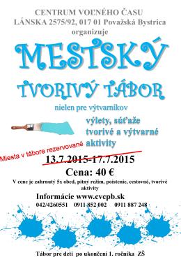 Mestský tvorivý tábor - Centrum voľného času Považská Bystrica