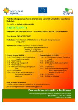 Energetický audit - ener-supply - Podnikovohospodárska fakulta so