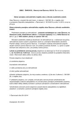 OBEC ŠAROVCE, Obecný úrad Šarovce, 935 52 Š a r o v c e Zámer