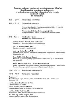 Program vedeckej konferencie s medzinárodnou účasťou Sociálna