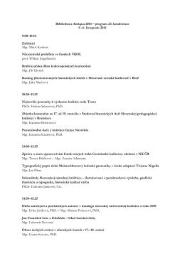 Bibliotheca Antiqua 2014 – program 23. konference 5.–6. listopadu