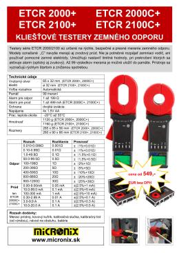 etcr 2000+ etcr 2000c+ etcr 2100+ etcr 2100c+ kliešťové testery