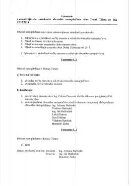 Uznesenie z ustanovujúceho zasadnutia obecného zastupiteľstva