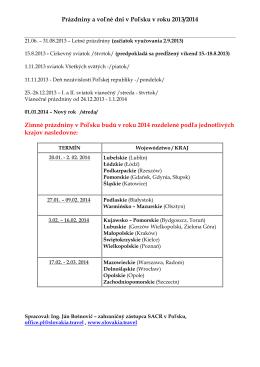 Prázdniny a voľné dni v Poľsku v roku 2013/2014 Zimné prázdniny v