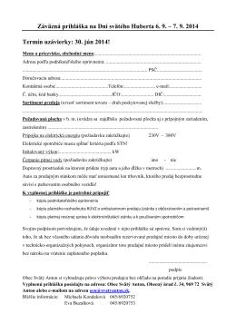 Záväzná prihláška na Dni svätého Huberta 6. 9. – 7. 9. 2014 Termín