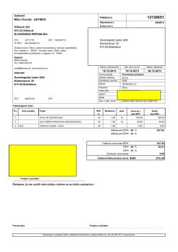 Milan Oravčík - DEYMOS Faktúra č. Višňové 433 Sociologický ústav