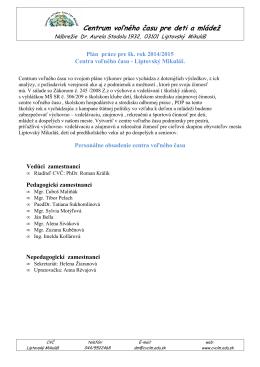 Plán práce 2014_15 (PDF) - Centrum voľného času Lipt. Mikuláš