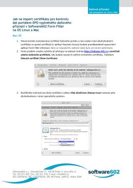 Jak na import certifikátu pro kontrolu dat portálem EPO vyplněného