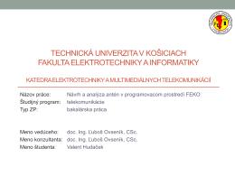 Technická univerzita v košiciach fakulta elektrotechniky a informatiky