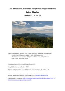 51. stretnutie čitateľov časopisu Krásy Slovenska Vyšný Slavkov