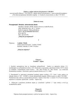 Zmluva o nájme nebytových priestorov č.04/2014 uzavretá podľa
