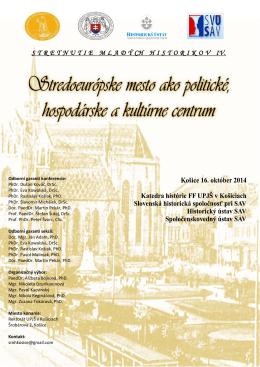 Stredoeurópske mesto ako politické, hospodárske a kultúrne centrum