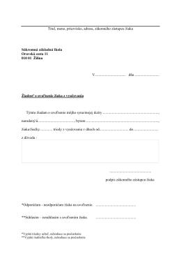 Titul, meno, priezvisko, adresa, zákonného zástupcu (žiadateľa)