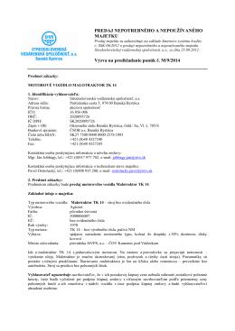 Vyzva_majetok M_9_2014 - Stredoslovenská vodárenská spoločnosť