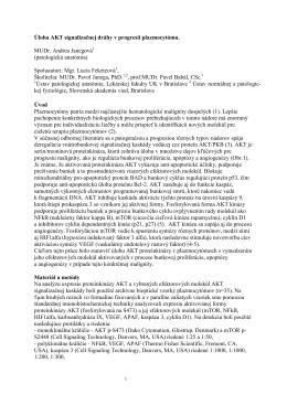 1. Úloha AKT signalizačnej dráhy v progresii plazmocytómu.