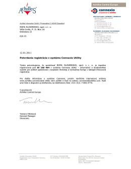 Achilles Central Europe Potvrdenie registrácie v systéme Connexio