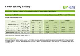 Cenník produktovej rady PROFIT pre odberateľov do 30 MWh a nad