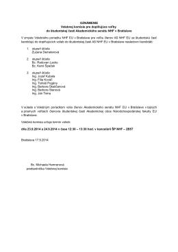 OZNÁMENIE Volebnej komisie pre doplňujúce voľby do študentskej
