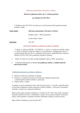 Súkromné gymnázium, Petzvalova 4, Košice Kritéria k prijímaniu