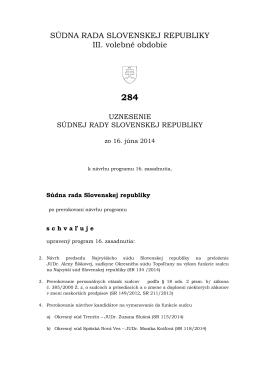 Uznesenie č. 284 - Zasadnutia Súdnej rady Slovenskej republiky