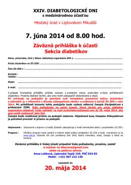 Prihláška na XXIV. Diabetologicke dni v Liptovskom Mikuáši 2014
