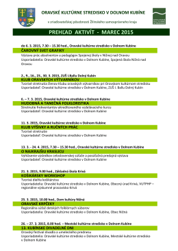 prehľad aktivít - marec 2015 - Oravské kultúrne stredisko, Dolný Kubín