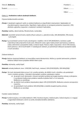 Téma 8.: Bielkoviny. Protokol č.