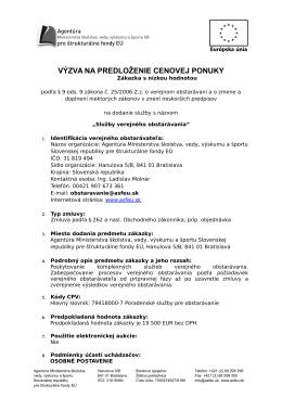 Služby verejného obstarávania - Agentúra Ministerstva školstva