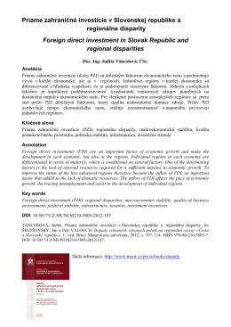 Priame zahraničné investície v Slovenskej republike a regionálne