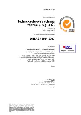 Technická obnova a ochrana železníc, as (TOOŽ) OHSAS 18001:2007