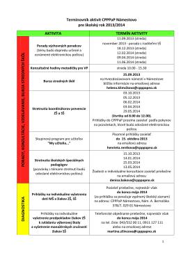 Termínovník aktivít CPPPaP Námestovo pre školský rok 2013/2014