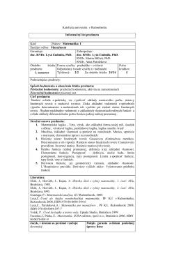 Katolícka univerzita v Ružomberku Informačný list predmetu Kód