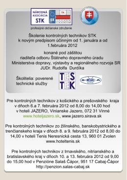 Školenie kontrolných technikov STK - Ministerstvo dopravy, výstavby
