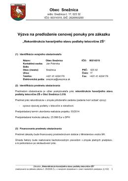 Obec Snežnica Výzva na predloženie cenovej ponuky pre zákazku