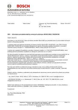 Informácie prevádzkovateľom emisných prístrojov BOSCH BEA 150